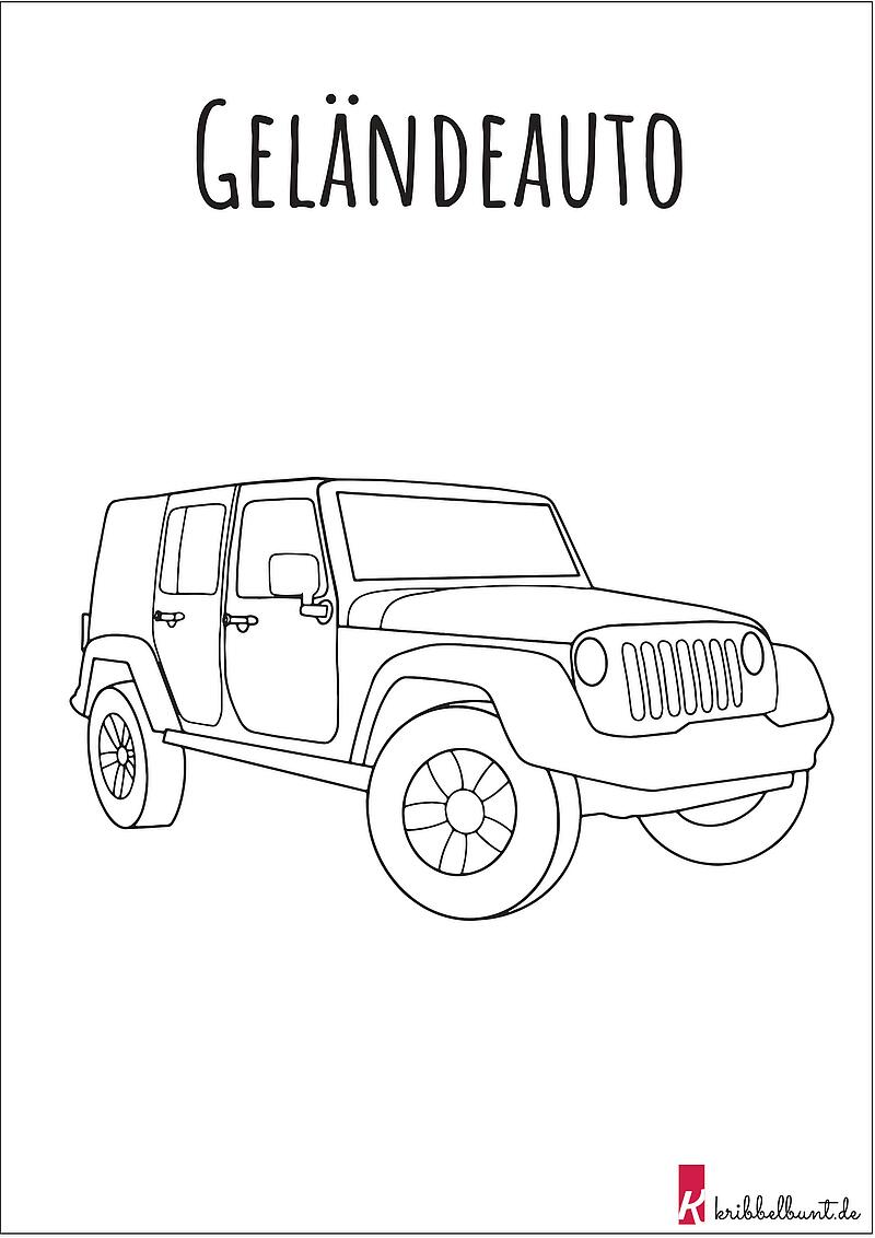 Ausmalbild Auto - Malvorlagen Auto » PDF  Kribbelbunt