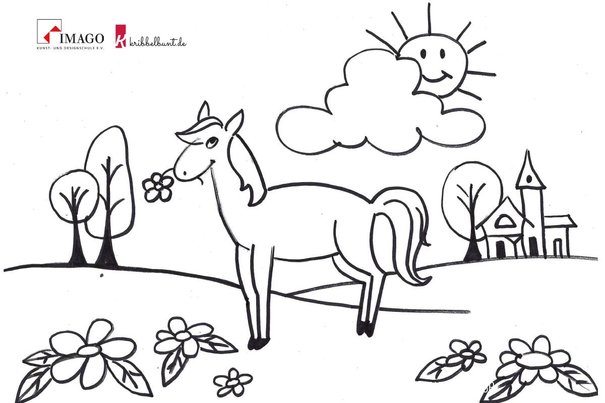 ausmalbilder viele pferde  malbild