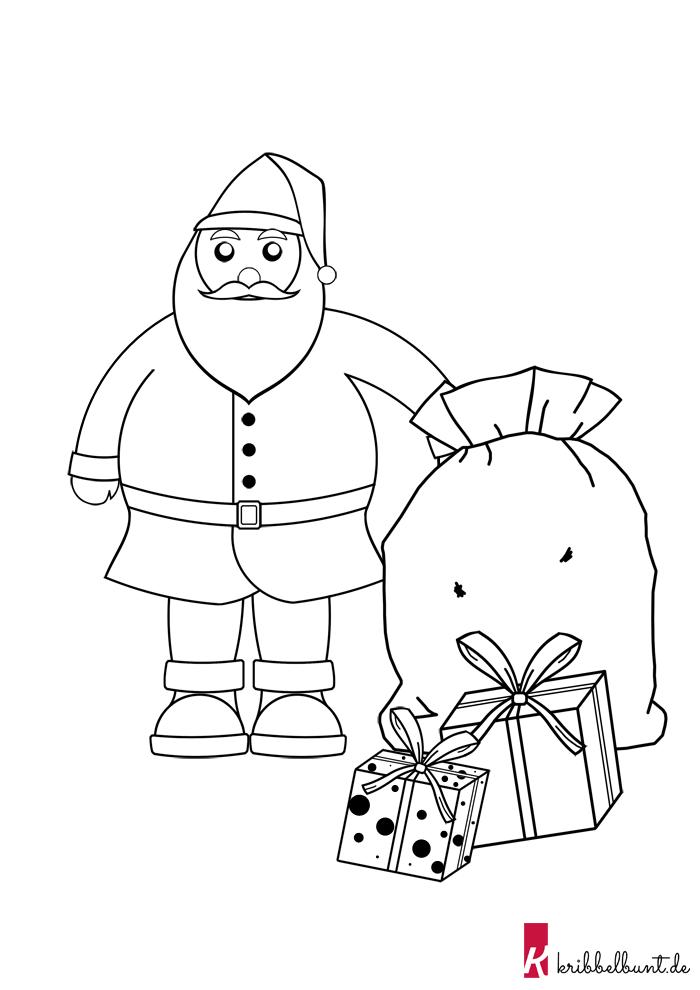 Weihnachtsmann Vorlage Zum Ausdrucken Pdf Kribbelbunt