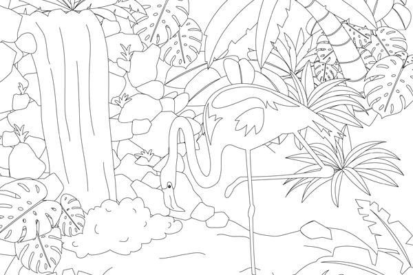 Ausmalbild Flamingo | Kribbelbunt