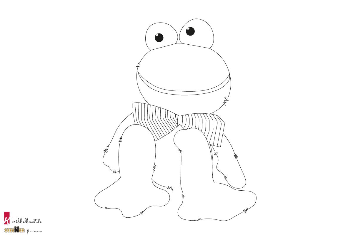 Ausmalbild Frosch » Malvorlage als PDF  Kribbelbunt