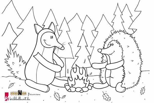 Ausmalbild Igel Und Fuchs Kribbelbunt