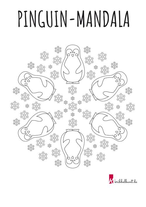Ausmalbild Pinguin Mandala Zum Ausdrucken Kribbelbunt