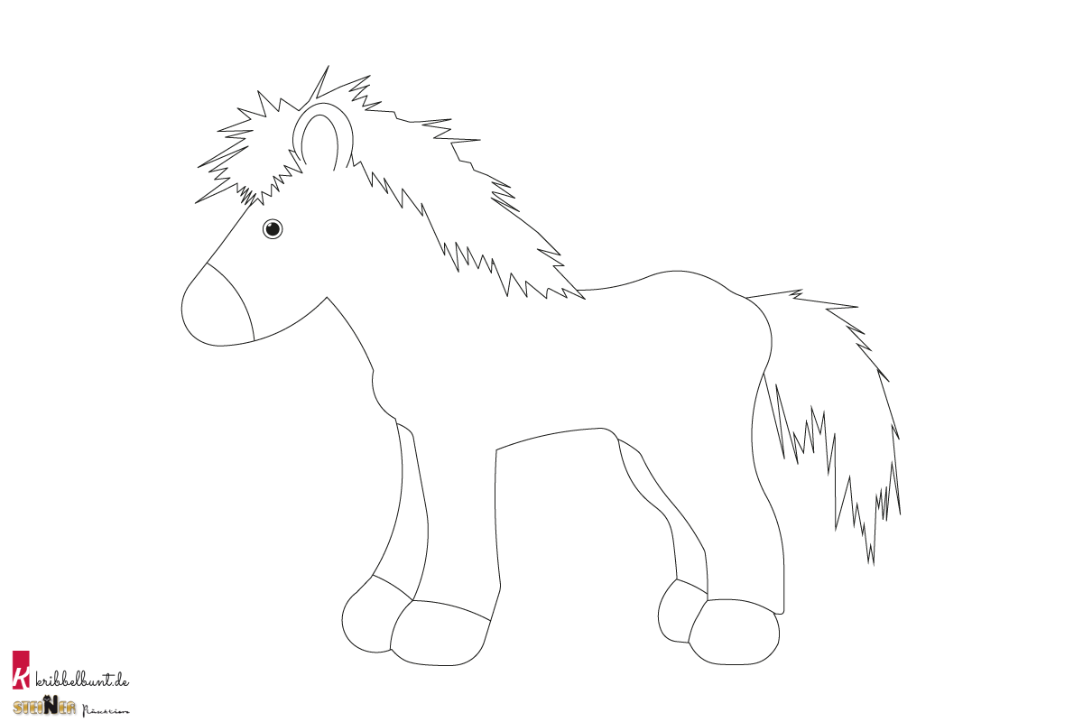 Ausmalbild Pferd Goldi Kribbelbunt