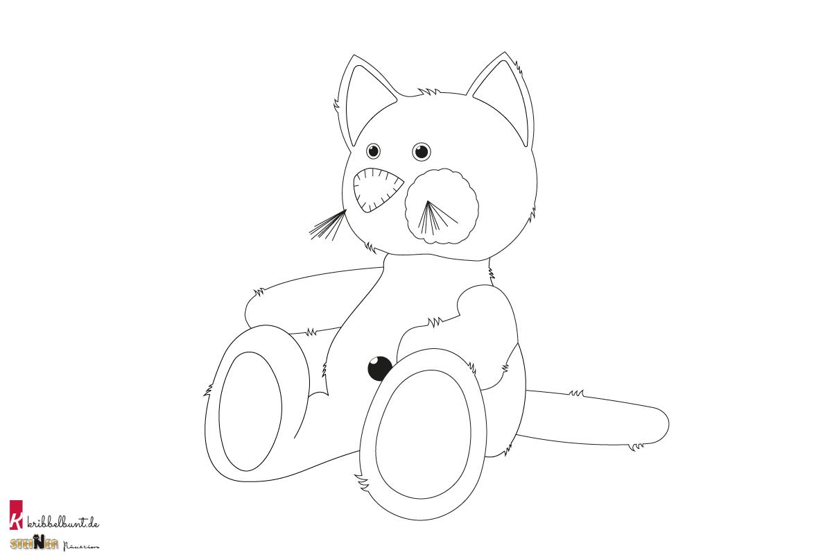 Ausmalbild Katze Charly  Kribbelbunt