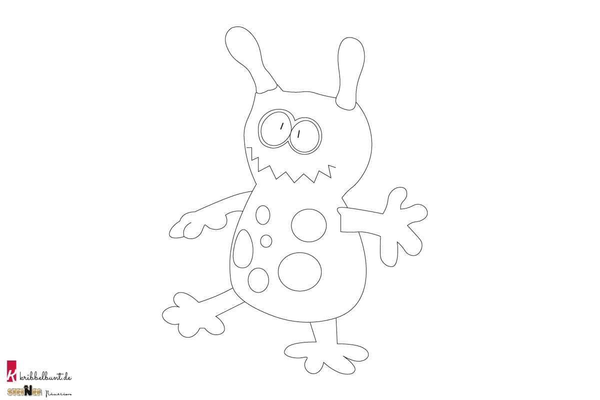 Ausmalbild Monster Blubber  Kribbelbunt