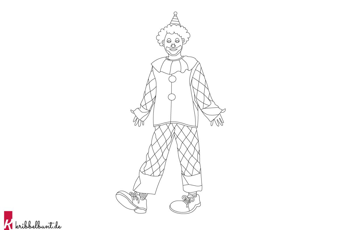 Clown Ausmalbild - Clown zum Ausmalen » PDF  Kribbelbunt