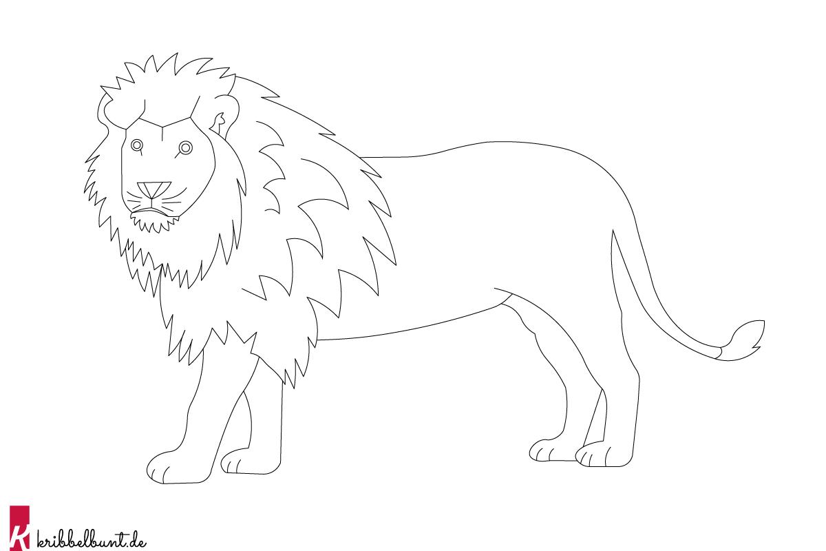 ausmalbild löwe - löwe zum ausmalen » pdf | kribbelbunt