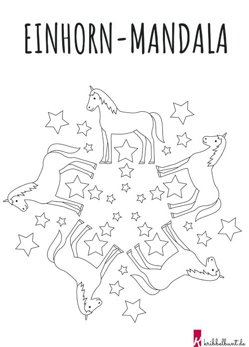 einhorn mandala » pdf zum ausdrucken  kribbelbunt