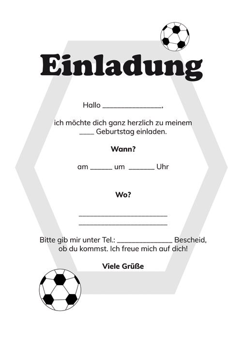 Einladungskarten Kindergeburtstag Fussball Kostenlos