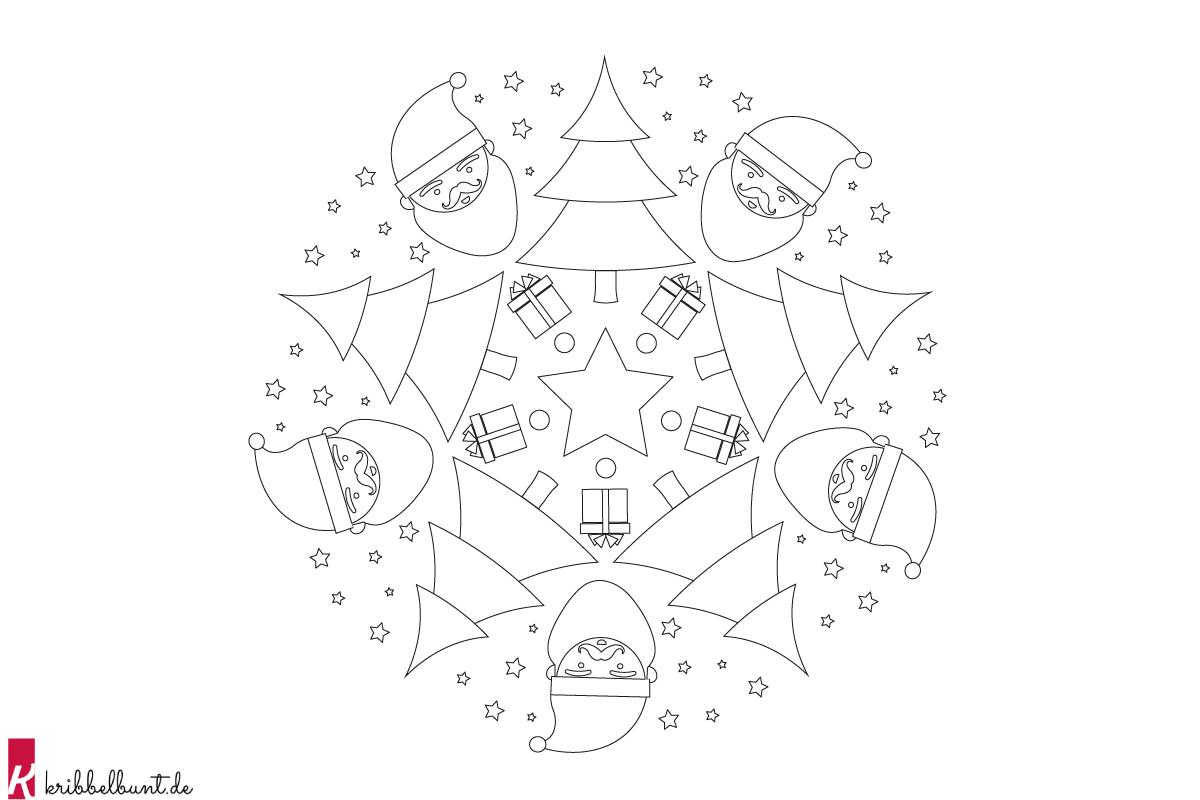 mandala weihnachten » weihnachtsmandala als pdf   kribbelbunt