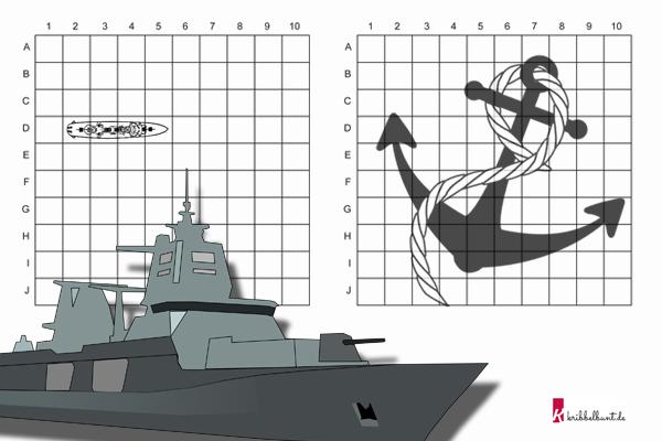 Sehr Schiffe versenken Vorlage » PDF zum Ausdrucken - Kribbelbunt GH55