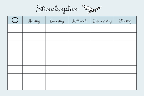 Stundenplan Vorlage » PDF zum Ausdrucken   Kribbelbunt