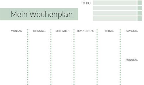 Wochenplan Vorlage » PDF zum Ausdrucken   Kribbelbunt
