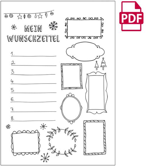 Wunschzettel Vorlage / Wunschzettel Weihnachten - Kribbelbunt